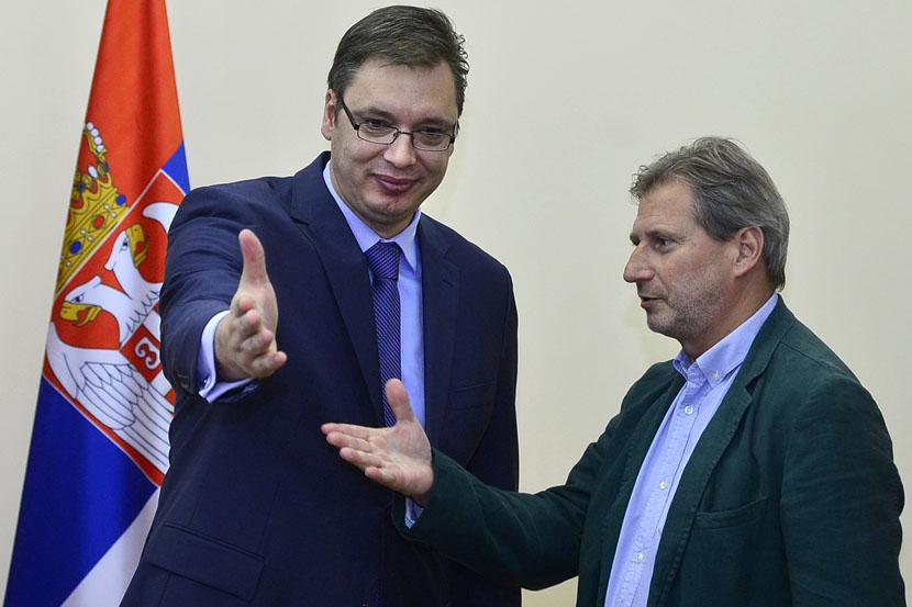 Konferencija za medije Aleksandra Vučića i komesara EU Johanesa Hana: ne treba razmišljati o izborima, već o ljudima