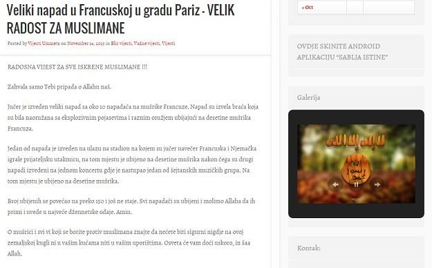 Internetski portal na bošnjanskom – raduje se pokolju u Parizu