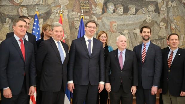 Konferencija za medije Aleksandra Vučića i senatora SAD Džona Mekejna