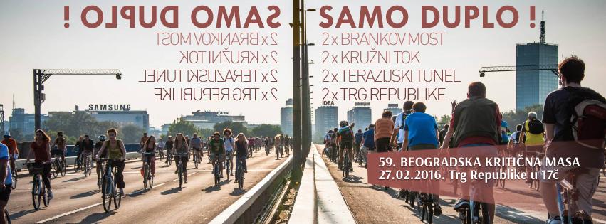 U subotu: 59. Beogradska Kritična masa – Samo duplo (Brankov most)