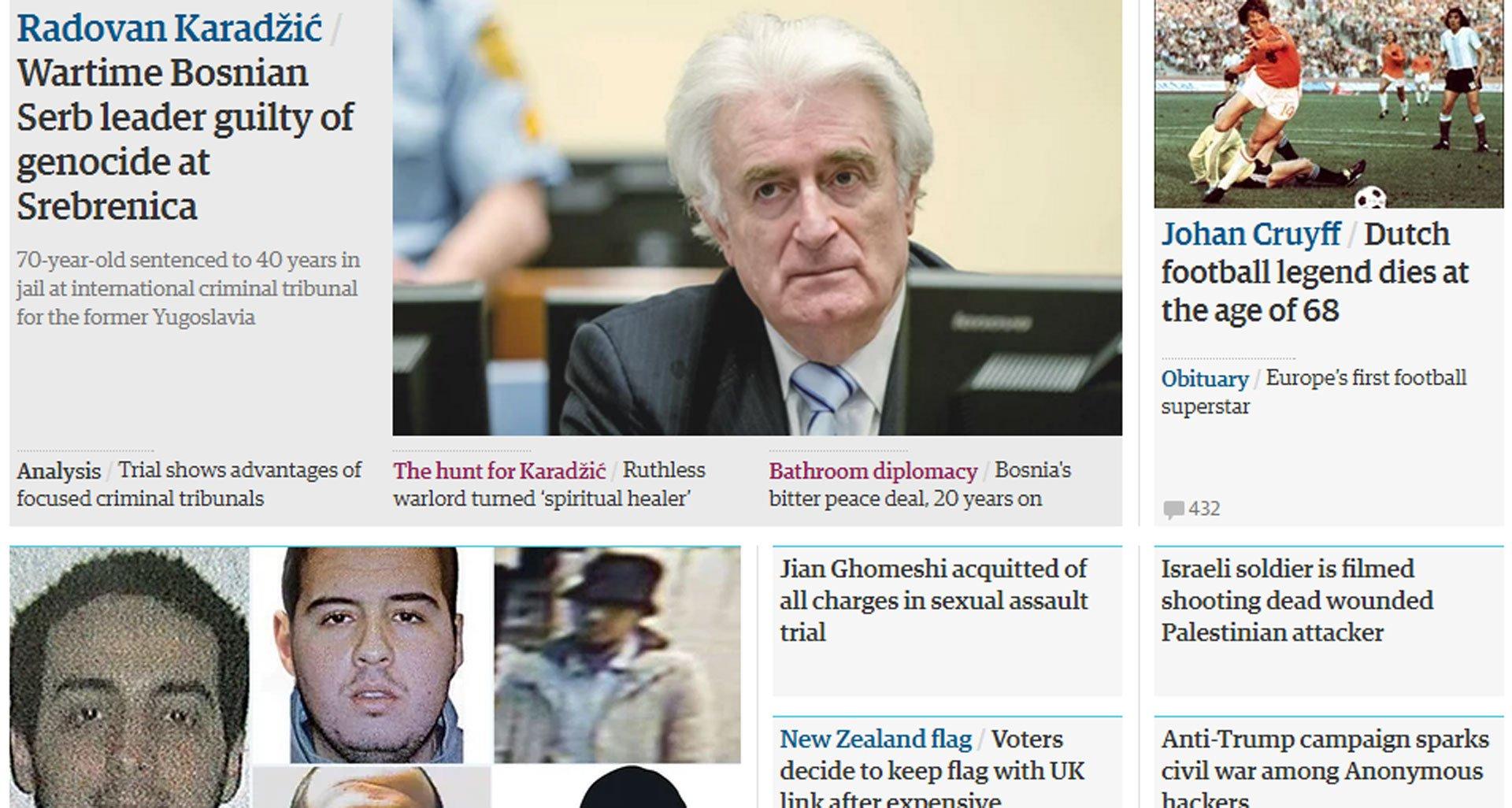 The Guardian: Presuda Karadžiću najbitniji momenat Tribunala
