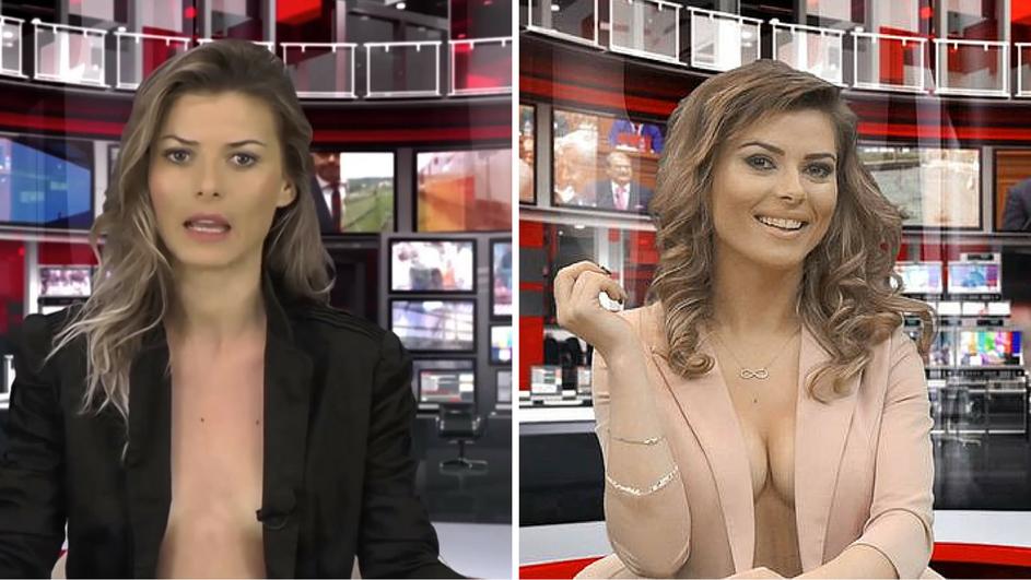 Miror analizira grudi voditeljice albanske televizije