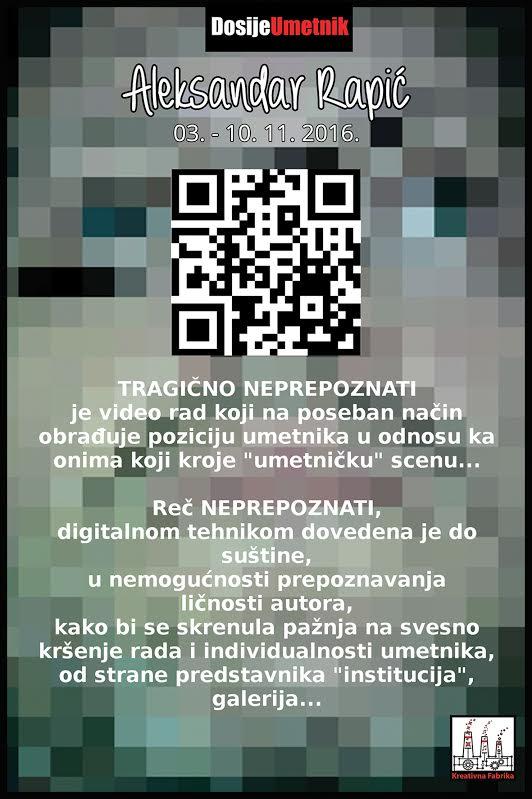 """Danas u galeriji Petak izložba Aleksandra Rapića """"Tragično neprepoznati"""""""