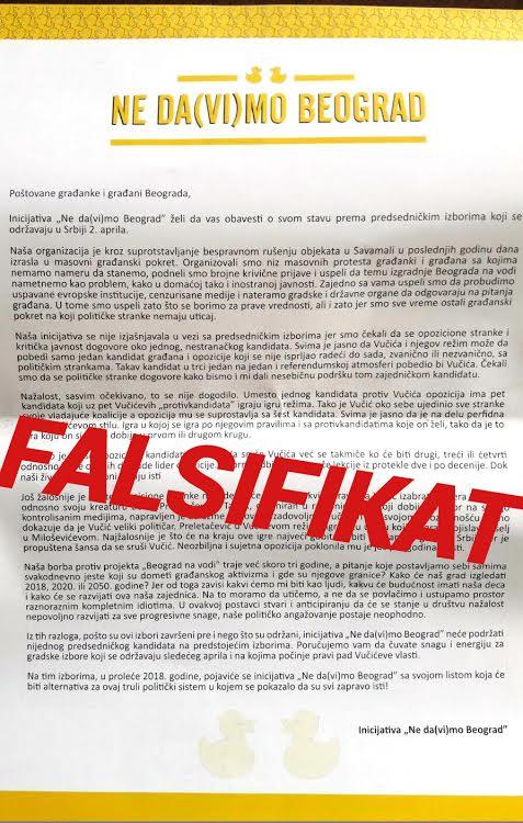 Demanovana laži: inicijativa Ne da(vi)mo Beograd poziva građane da izađu na izbore!
