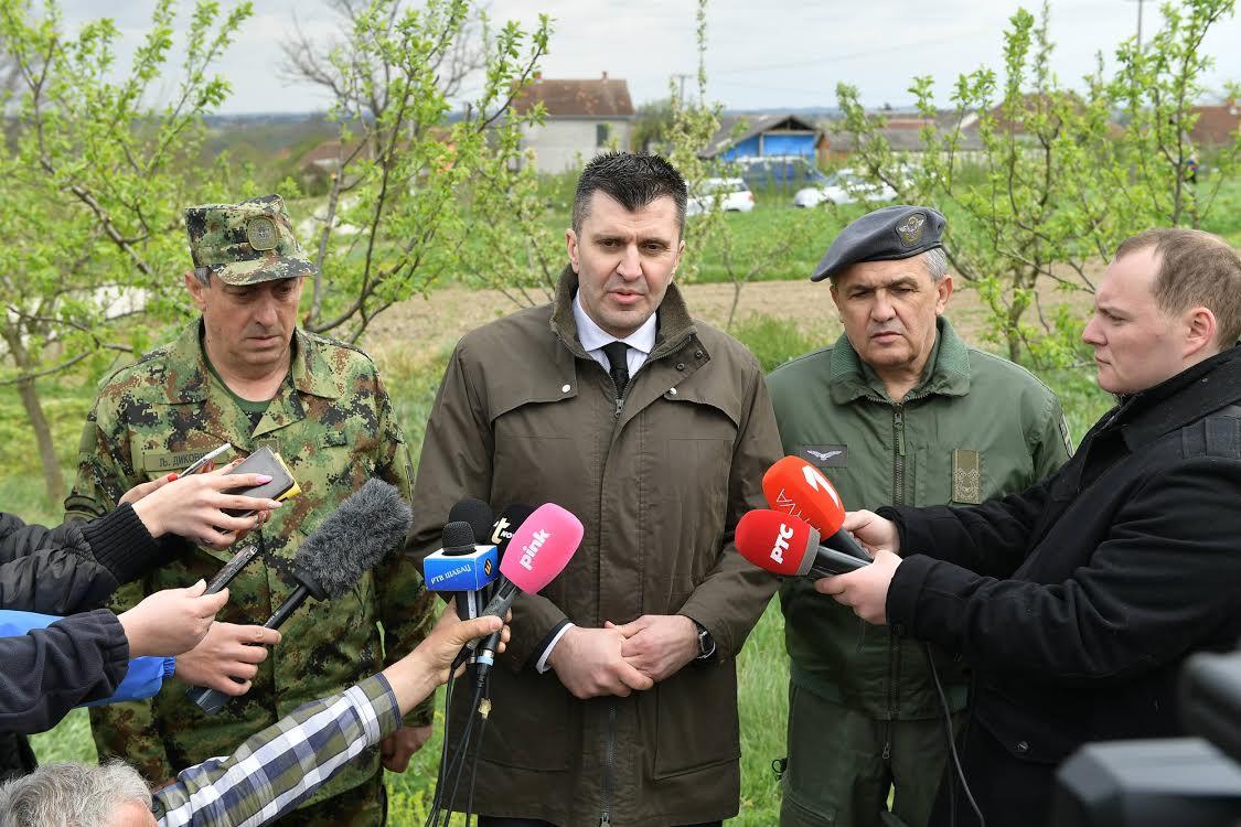 Đorđević, Diković i Živak na mestu pada aviona
