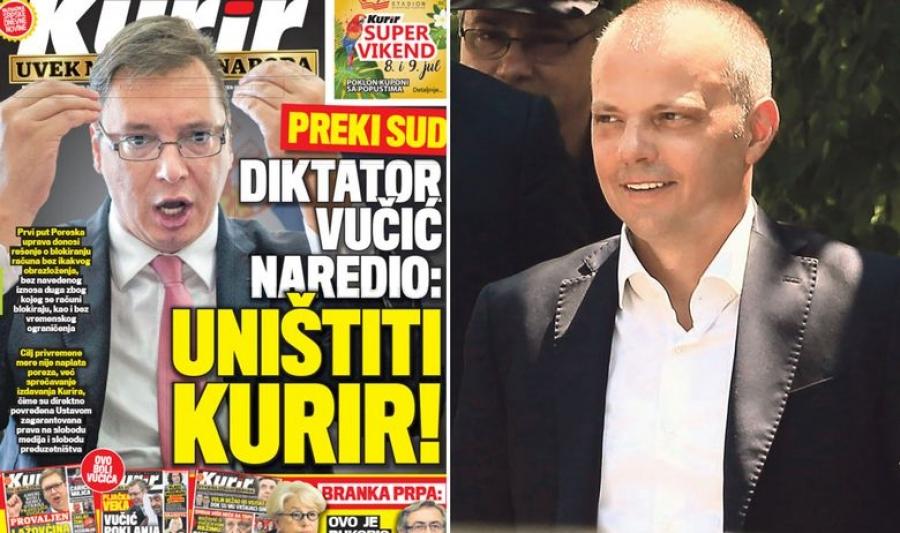 "Slučaj dnevnika Kurir: blokiran račun ""delo diktatora Vučića"""