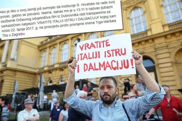 """Hrvatsko tužilašto protiv autora natpisa """"Vratite Italiji Istru i Dalmaciju"""""""