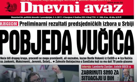 Sutra u Devnom avazu Vućić o odnosima Srbije i BiH