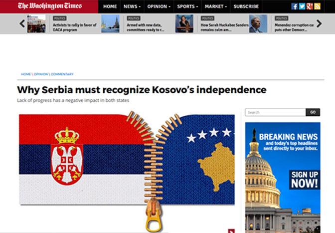 Vašington tajms: Zašto Srbija mora da prizna Kosovo