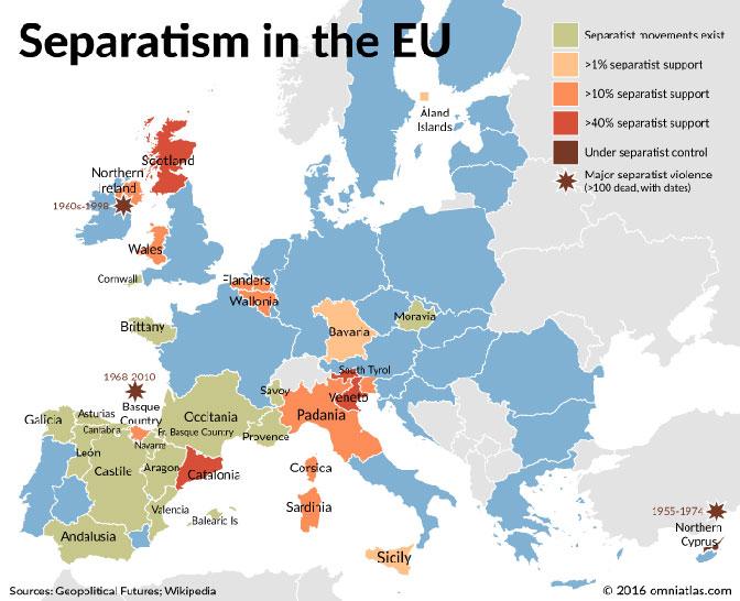 Posle Katalonije: Evropa krcata regionima koji čekaju povoljan trenutak da izvrše secesiju