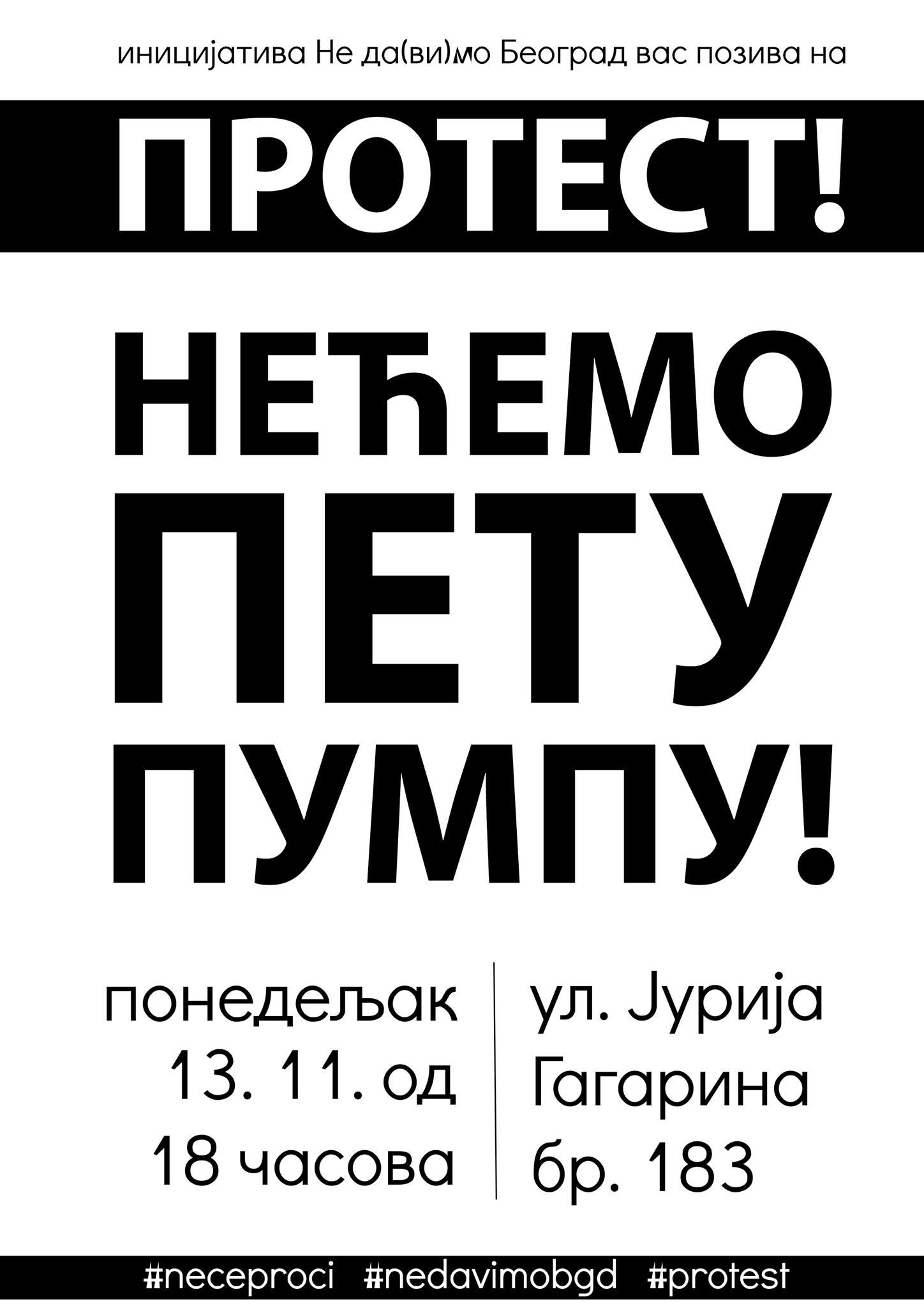 Inicijativa Ne da(vi)mo Beograd poziva: ne treba nam peta benzinska pumpa!