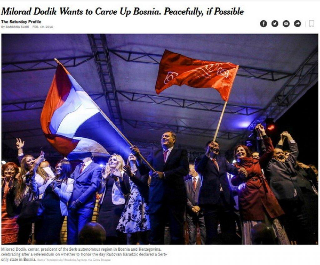 "The New York Times: ""Milorad Dodik želi mirno da razbije Bosnu"""