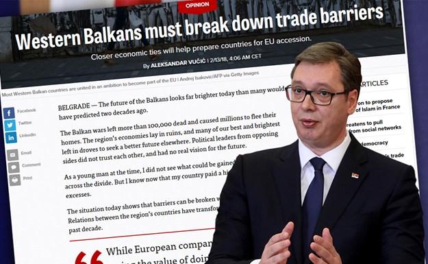 """Komentar Vučića u portalu Politiko: """"Zapadni Balkan mora da razbije trgovačke barijere"""""""