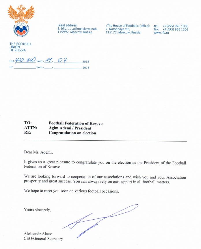 Ruska čestitka Fudbalskoj federaciji Kosova!