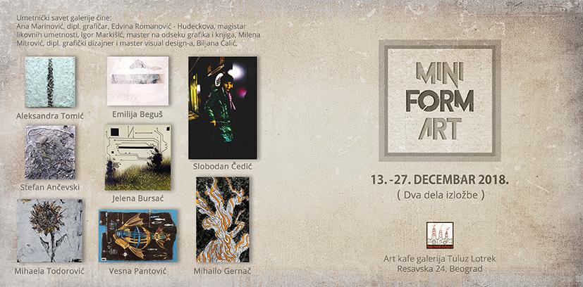 """U Art kafe galeriji Tuluz Lotrek izložba """"MiniForm Art"""""""