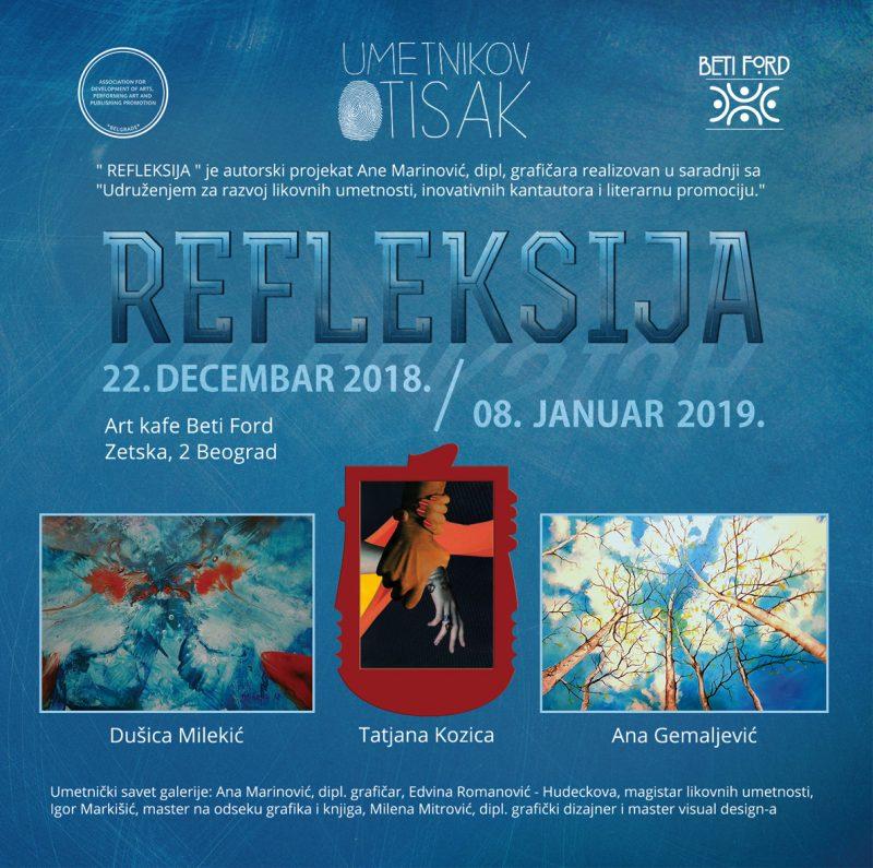 """U Art – kafe Galeriji """" Beti Ford"""" izložba """"Refleksija 2018."""""""