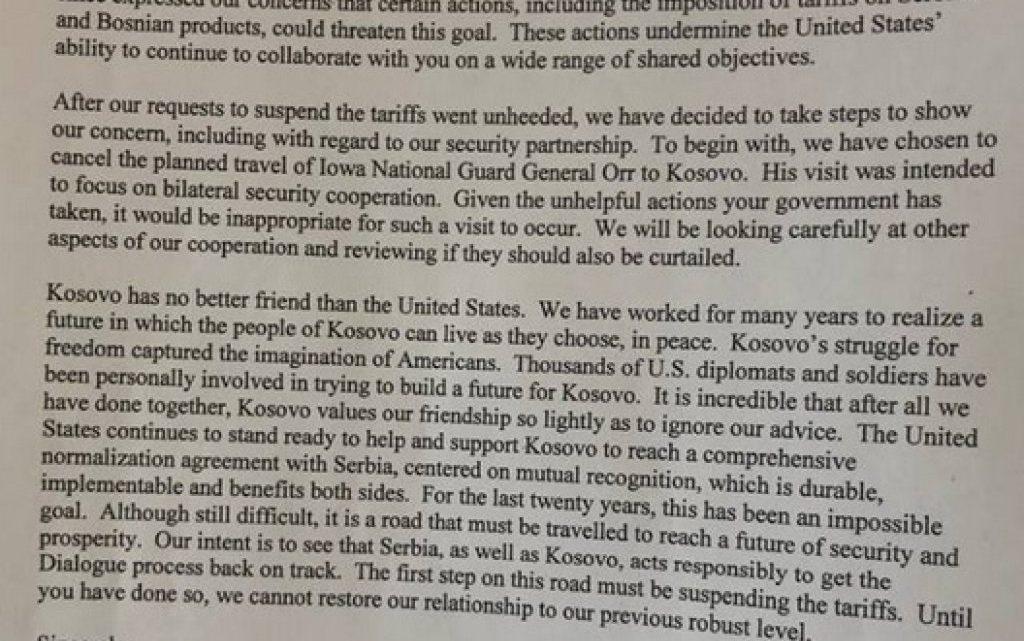 SAD upozorile Kosovo: Ukinite takse – slede sankcije!