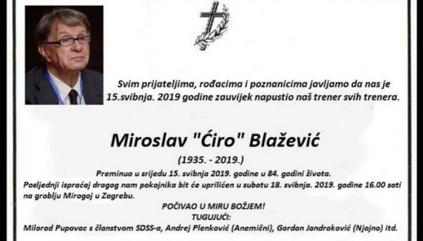 MORBIDNO: Zbog podrške Pupovcu smrtovnica treneru Ćiri Blaževiću!