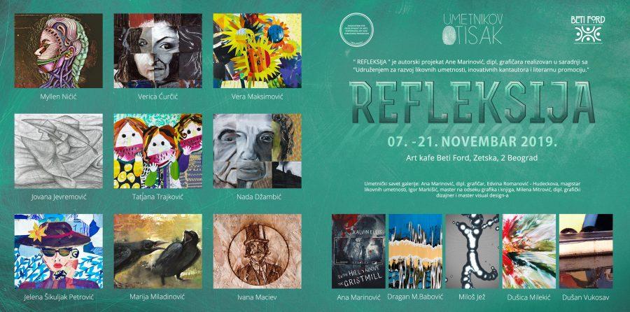 "BEOGRAD – ART KAFE GALERIJA BETI FORD: Kolektivna izložba ""Refleksija 2019."""