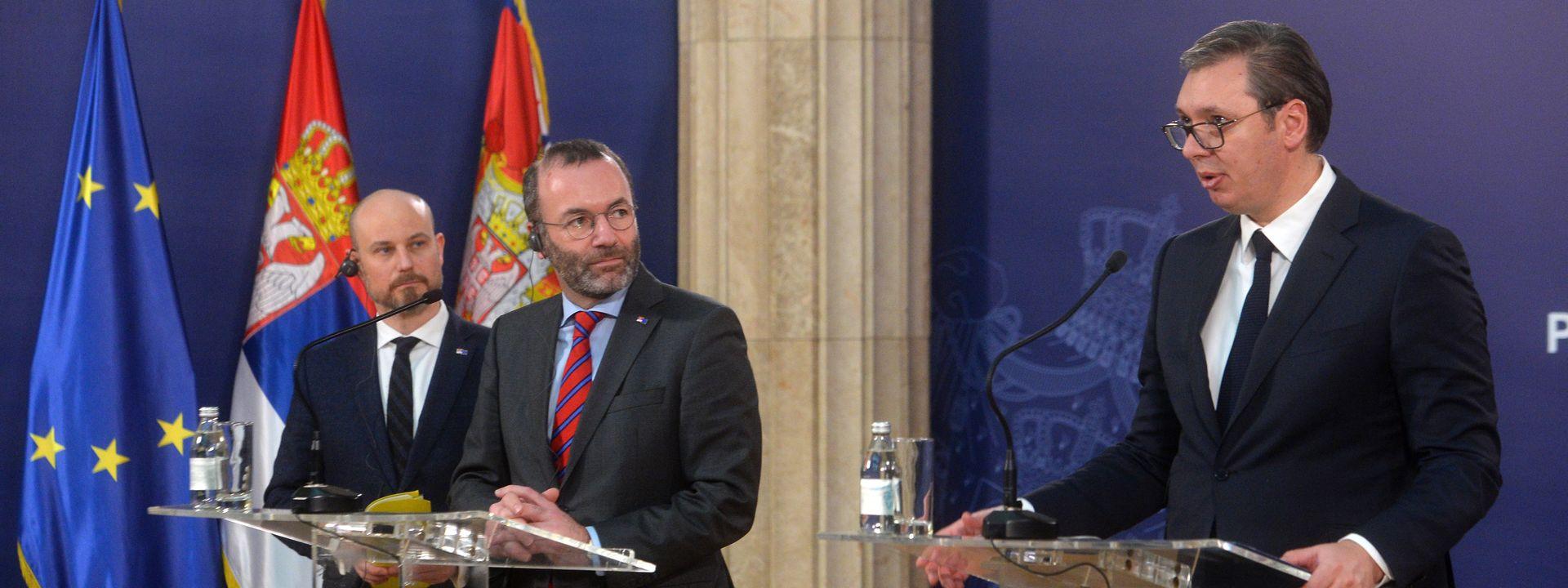 Konferencija za medije Vučića sa predstavnicima EP: Raspoloženi Vučić – neraspoložena Suzana!