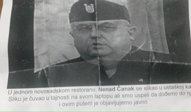 Foto montaža u Beloj crkvi: Nenad Čank sa ustaškom kapom