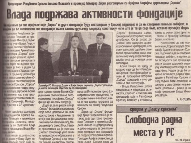 """Kako je Milorad Dodik sarađivao sa """"Soroš"""" fondacijom"""