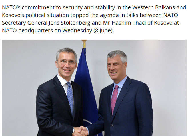 NATO ne priznaje Tačija kao predsednika Kosova