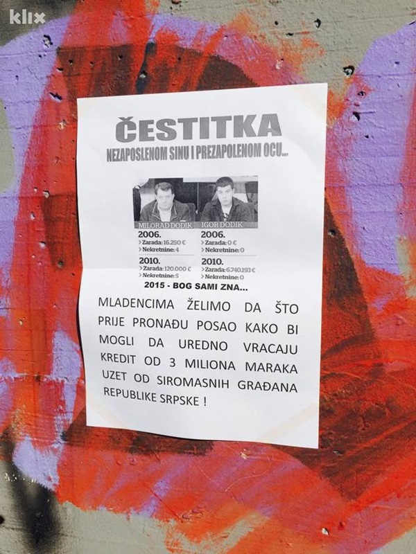 "DODIK DANAS ŽENI SINA: «ČESTITKA NEZAPOSLENE OMLADINE RS"""